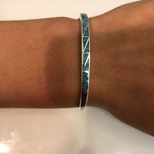 Sterling Silver Bracelet with blue triangle design